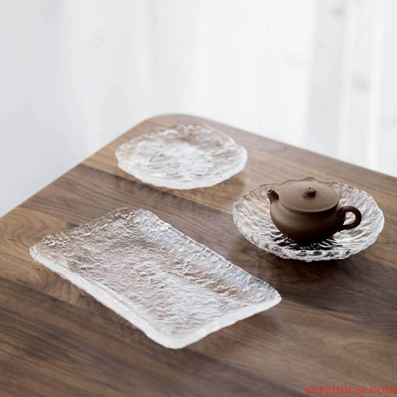 More vegetation school Japanese checking glass pot bearing bearing a pot of tea mat creative dry little tea tray saucer dish