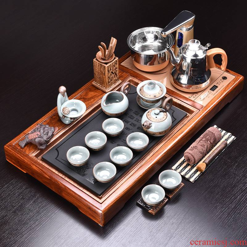Violet arenaceous kung fu tea set office home ceramic teapot electric magnetic furnace hua limu tea tray of a complete set of automatically
