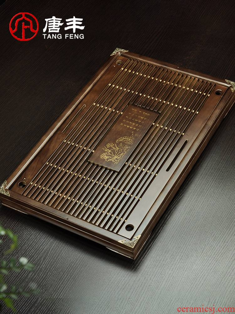 Tang Feng the draw - out type tea tray was solid wood store row of dual tray household contracted sitting room Z tea sea kung fu tea tea