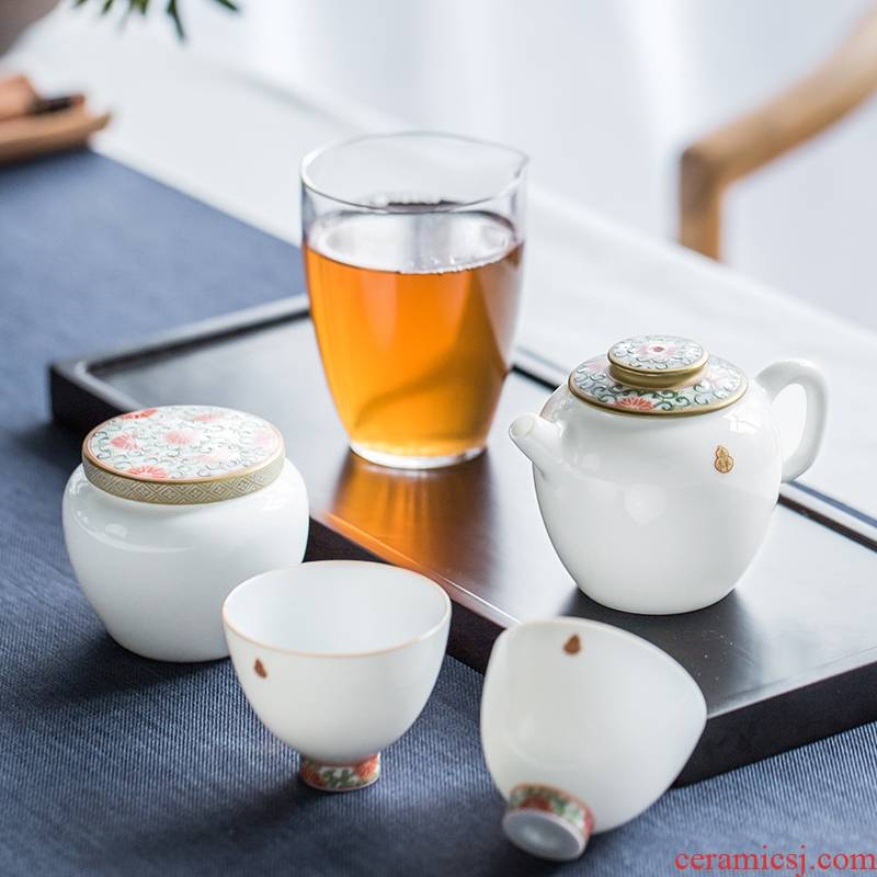 The Escape this hall jingdezhen pure manual teapot suit household hand - made pastel sweet white ceramic teapot kung fu tea set