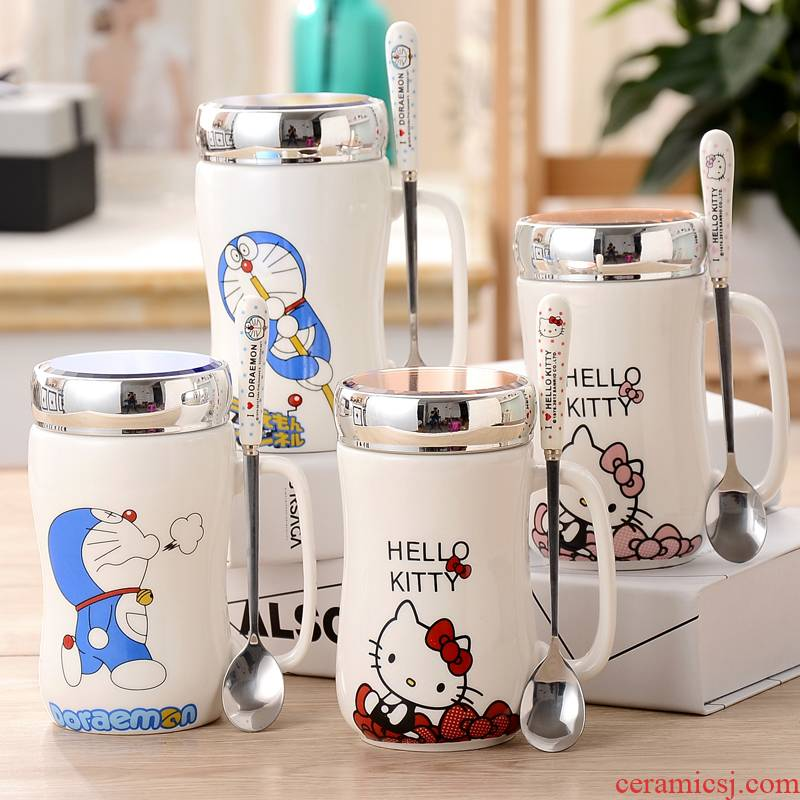 Express cartoon creative mugs ceramic cups with cover with teaspoons of large capacity office lovers package mail glass cup