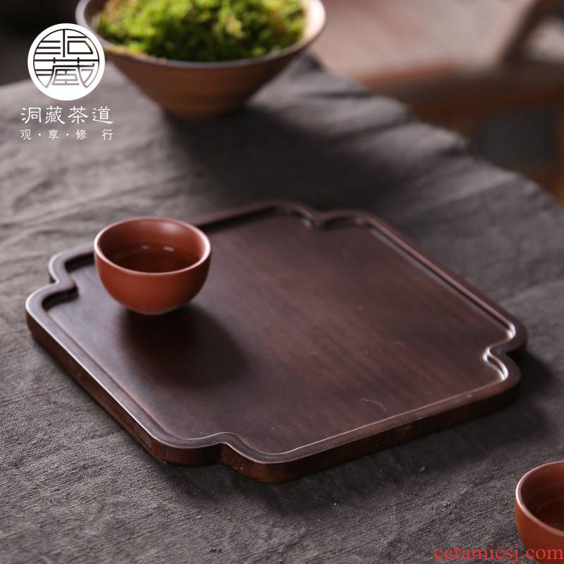 In building heavy bamboo hotel tray tea tray wood tea tray barbecue plate dry fruit tray bread plate
