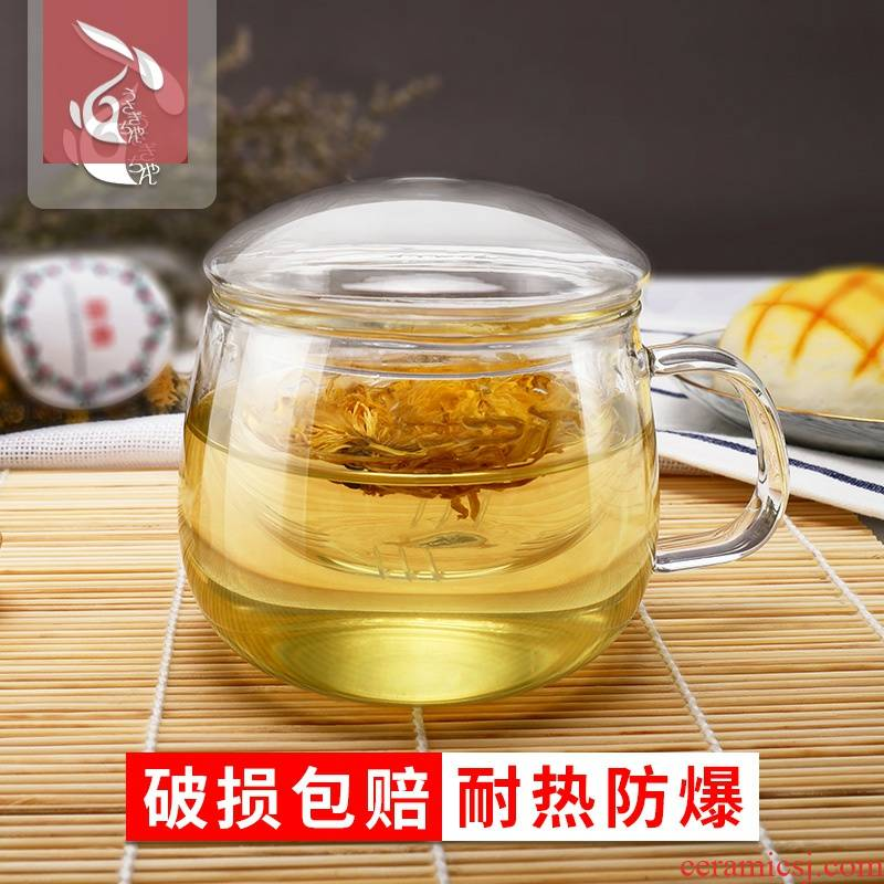 Separation of tea glass tea cup children take flowers teapot teacup with cover household express it in transparent glass