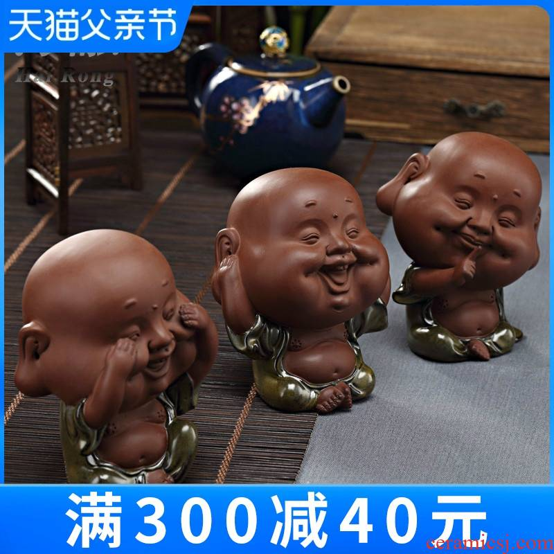 Ideas sometimes express little monks kung fu tea set decoration accessories purple mini little novice monk tea pet furnishing articles