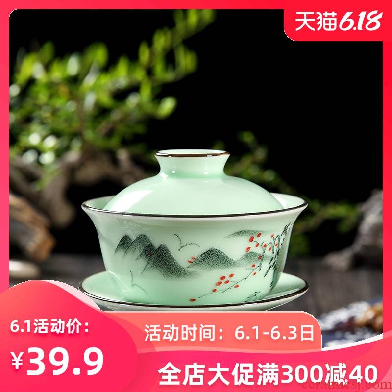 The Home of kung fu tea set longquan celadon ceramics hand - made tureen tea cup bowl bowl three cups of small size