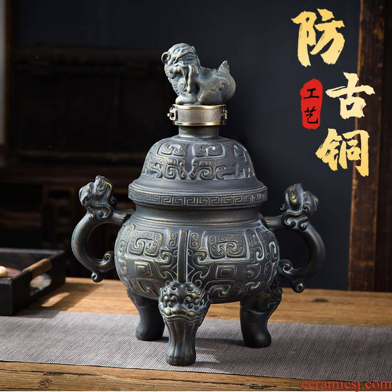 Jingdezhen seal home antique liquor bottle male household ceramic jars to high grade decorative furnishing articles hip 4 jins