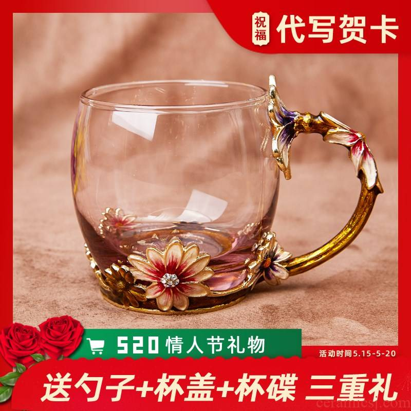 The colored enamel heat household glass crystal glass cup milk cup of fruit juice cup coffee cup water.