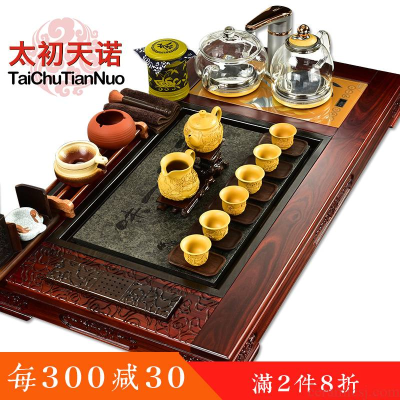 The beginning day, kung fu tea set tea tray rosewood tea sets of automatic glass stone pot four unity are it