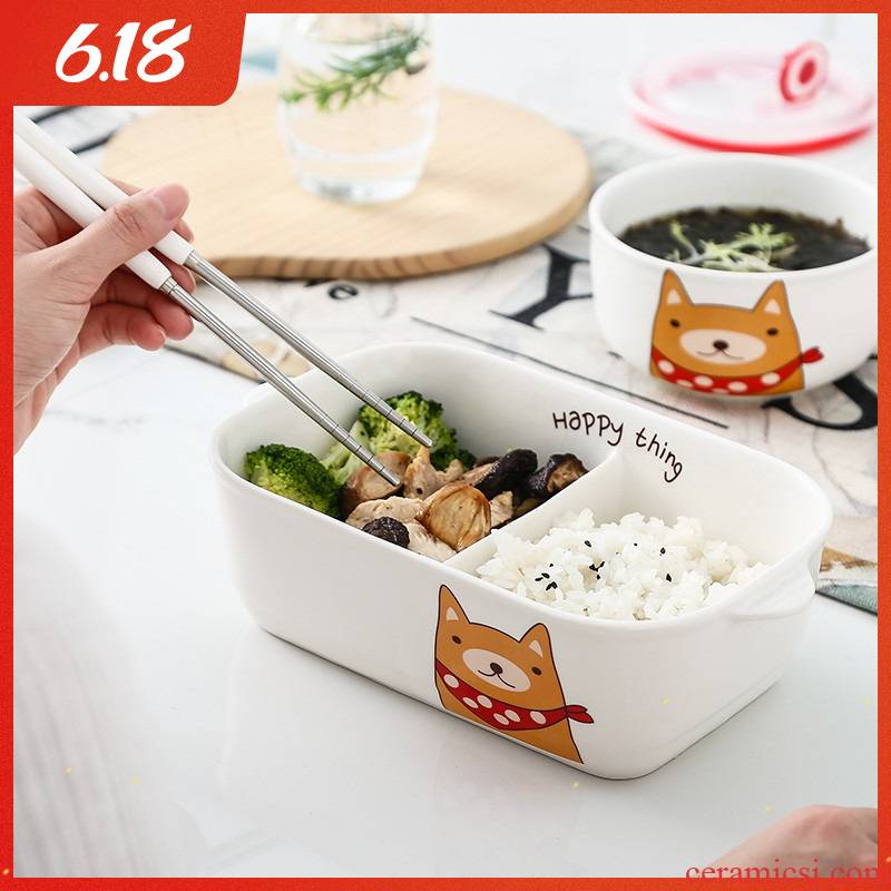 Microwave oven dedicated bento lunch box office workers take meals cassette cover sealing frame ceramic rectangle crisper