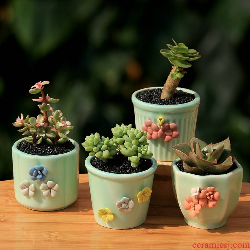 Three sisters flower celadon flower pot ceramic creative hand - made flowers round lovely fleshy flower pot in household indoor the plants