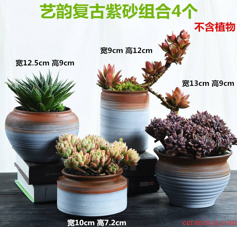 Purple sand flowerpot old running the retro coarse pottery breathable creative move high large fleshy meat meat the plants potted flower
