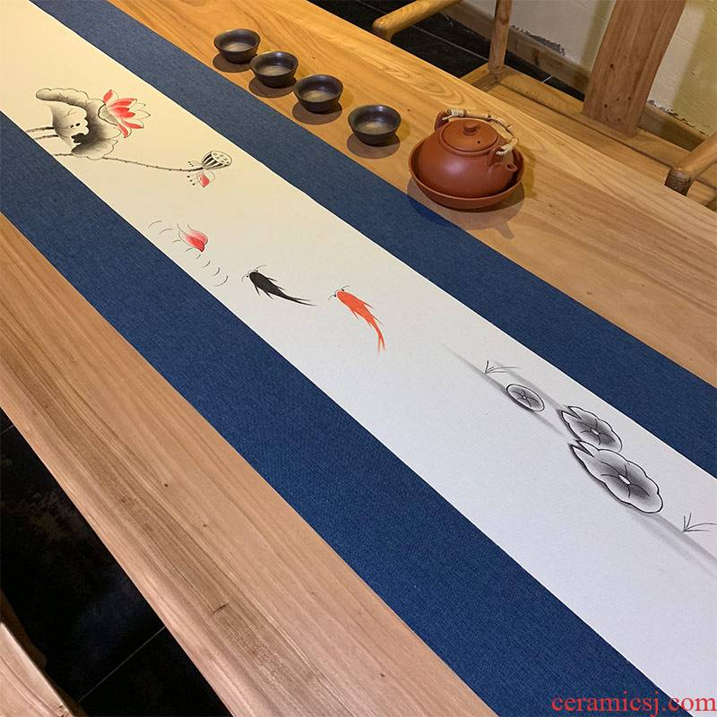 Waterproof cloth hand - made kung fu tea tea table cloth Japanese Waterproof table flag new Chinese zen linen cloth art tea shade
