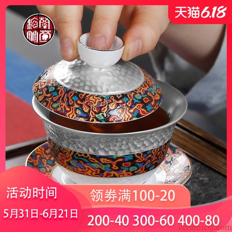 Hand grasp colored enamel tureen Chinese silver cups kung fu tea bowl Hand large jingdezhen three cups of household