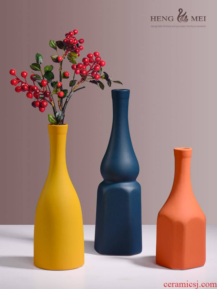 Boreal Europe style morandi ceramic vase furnishing articles sitting room art flower arranging dried flower adornment ins wind floret bottle
