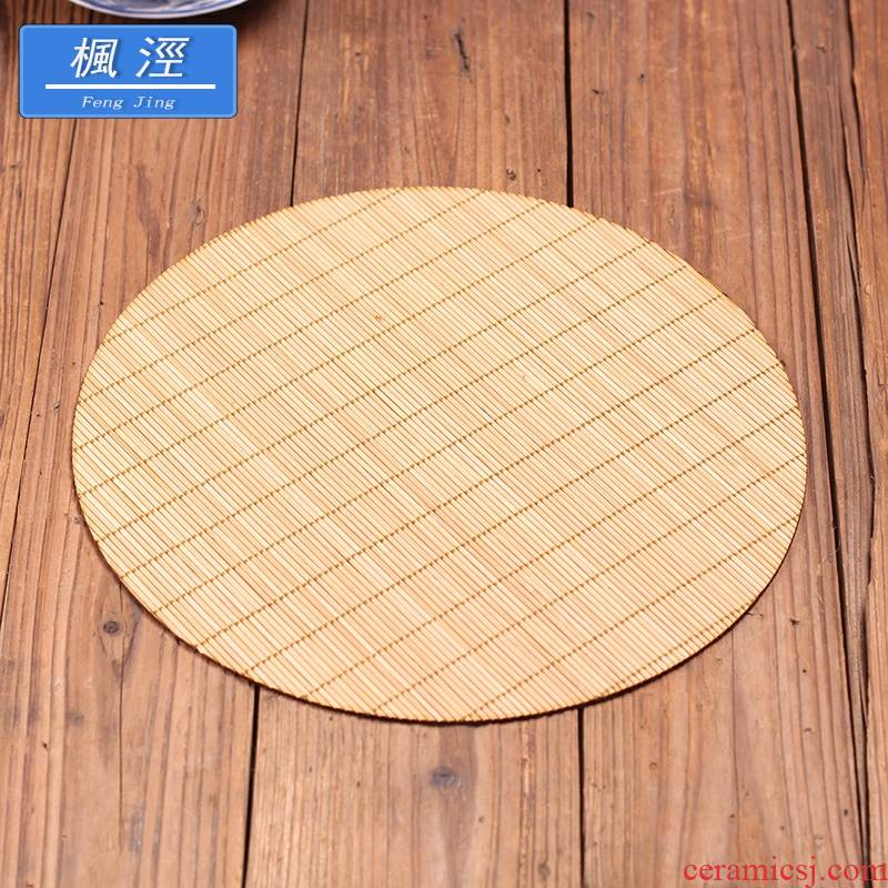 2020 oval round tea table mat bamboo mat bamboo dry tea cup mat pot new curtain tea