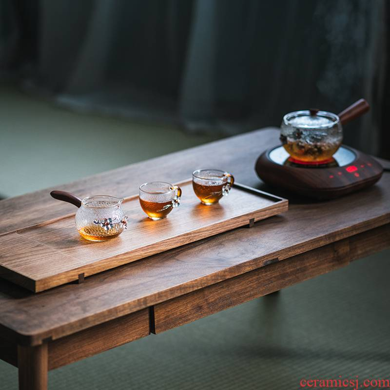 Heat resistant glass hammer real wood side set the public fair keller cup Japanese tea tin name plum points take tea accessories