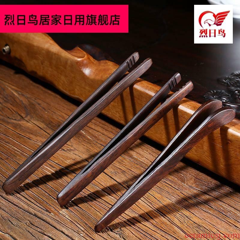 Tea accessories ebony ChaGa wooden kung fu Tea taking real wood the hot tweezers annatto rosewood cups clip