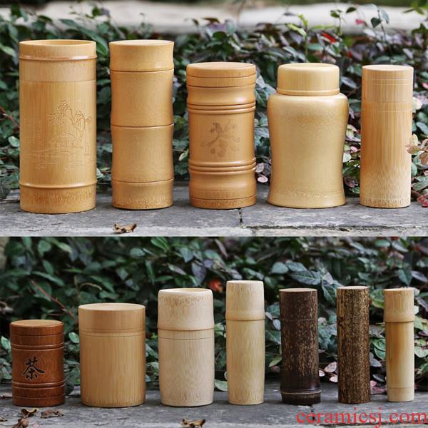 Caddy fixings wood real wood manual cylinder small storage box of bamboo and tea tea barrel large packaging bamboo cups