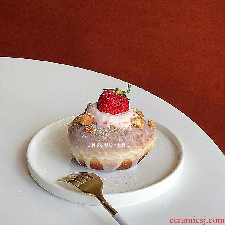 Scene satisfied ins Korean minimalist dumb disc ceramic western salad plate cake pan dessert plate breakfast tray