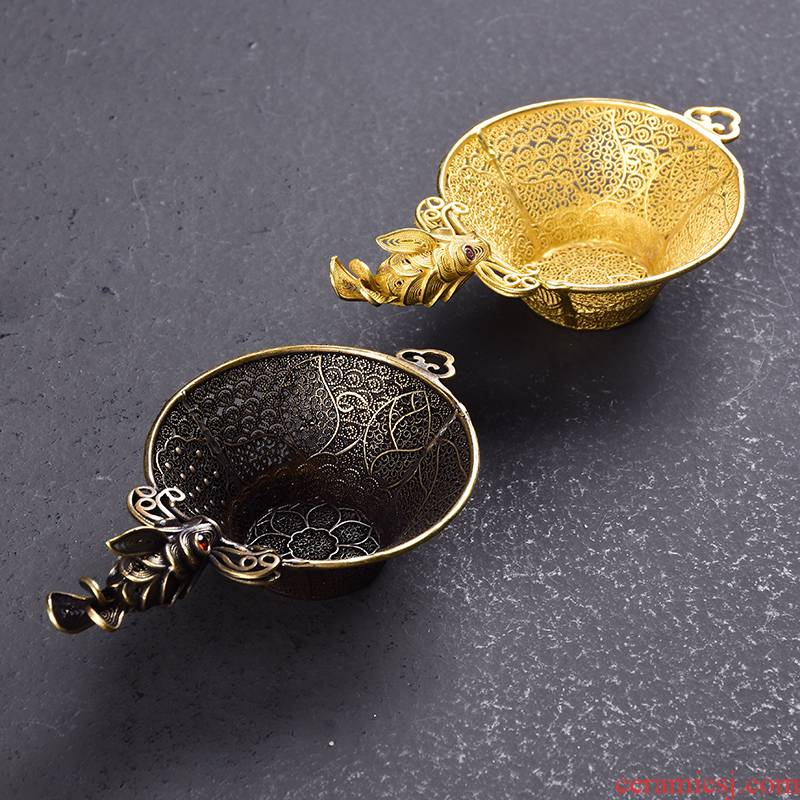 Pure copper) tea filter creative tea strainer hand - woven tea lotus tea strainer mesh tea set with B,