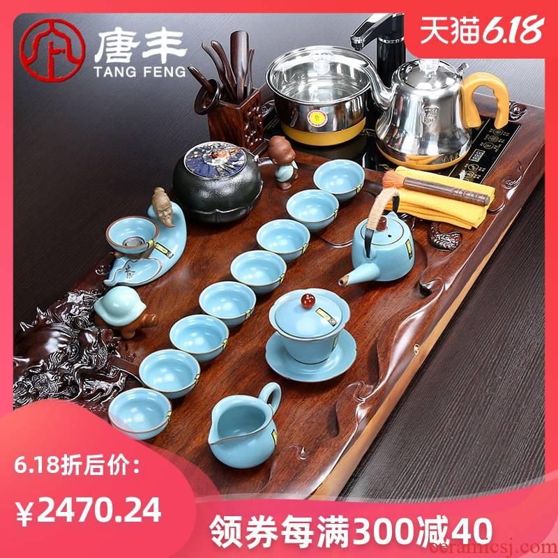 Tang Feng the whole piece of solid wood ebony wood tea tray was purple sand tea set kung fu of a complete set of four tea and tea set z