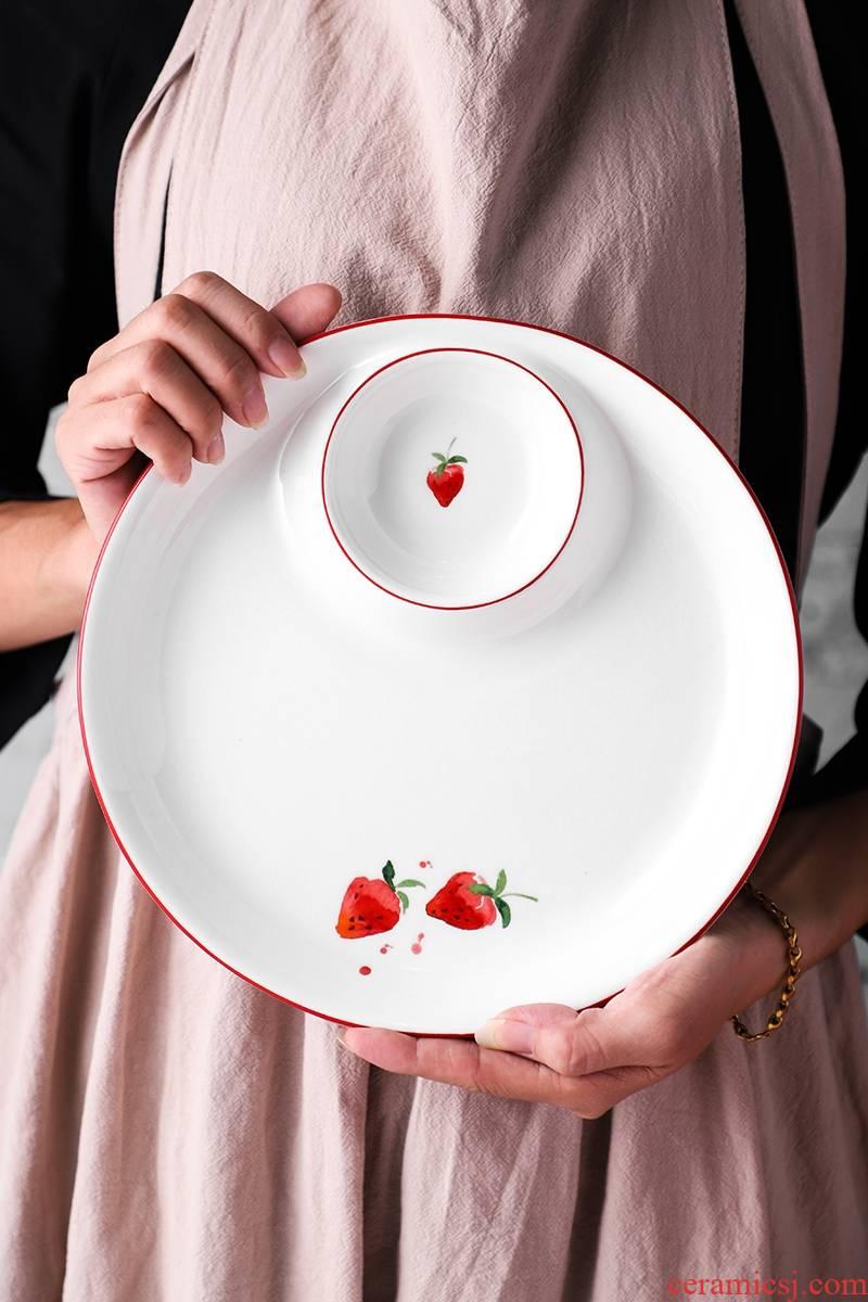 Implicit artisan Nordic dumplings dribbling vinegar disc ceramic dumpling dish condiment home cold shrimp dish, 615