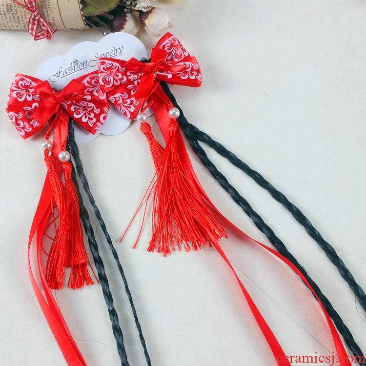 Blue and white porcelain wig braided hair clips, cloths bowknot steamer pearl tassel tire hanfu deserve to act the children