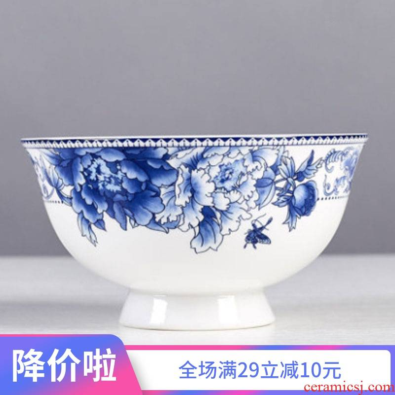 Jingdezhen rice ceramic bowl of soup bowl bowl individual dishes tall foot ipads porcelain tableware suit blue and white porcelain bowls of household