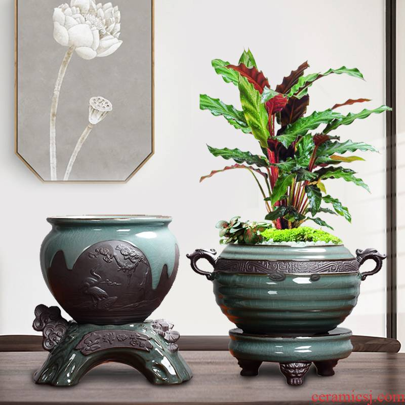 The elder brother of The ceramic up gardenia breathable restoring ancient incense asparagus in nine Chinese rose, creative large tray jasmine flower POTS