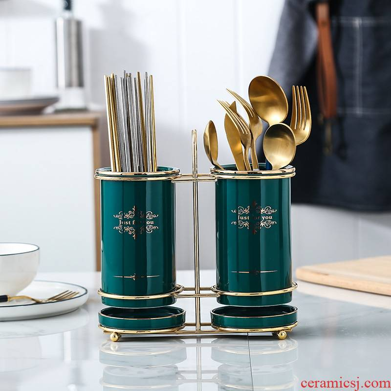 Nordic light tube creative key-2 luxury chopsticks cage household ceramics drop mouldproof equipped kitchen knife and fork spoon shelf gifts