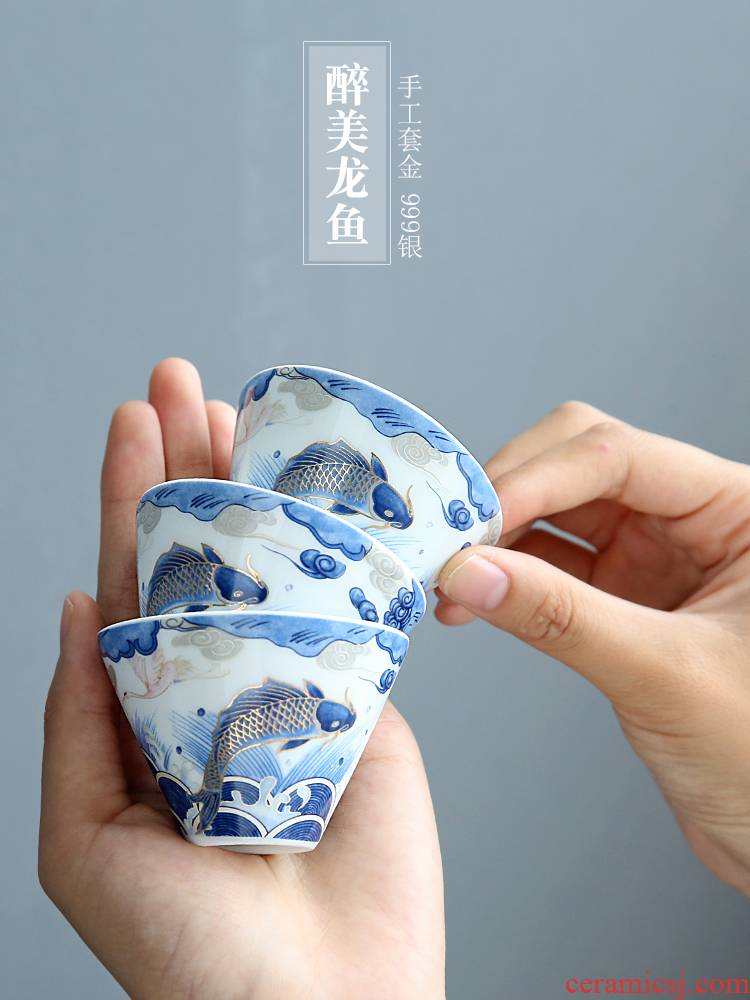 Auspicious dragon fish ceramic cups perfectly playable cup home of kung fu tea set sample tea cup single CPU use master cup by hand