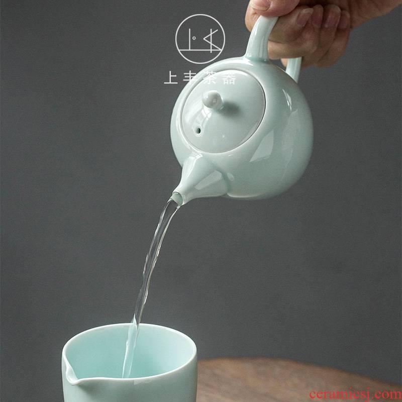 On fuvi teapot thin body celadon Japanese manual contracted kung fu office tea cyan porcelain tea set