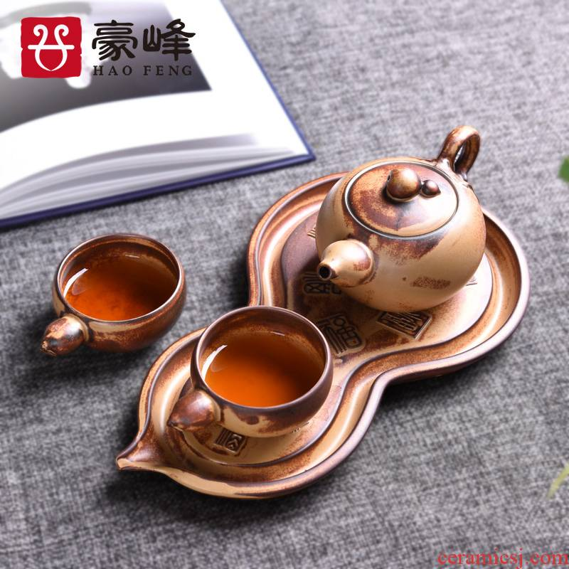 HaoFeng a pot of two cups of a complete set of dry tea tray was Japanese kung fu tea set contracted household ceramics gift boxes