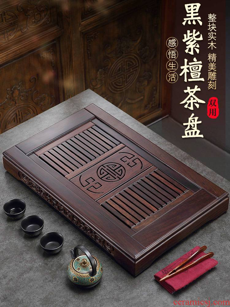 Morning high ebony water drainage type tea table kung fu tea tray was sea dish of household solid wood tea set tea saucer dish contracted