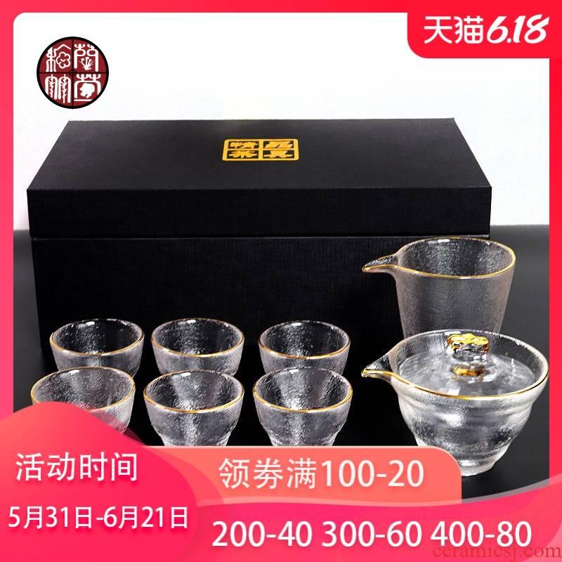 Japanese contracted and I glass tea set home sitting room temperature transparent small sets of kunfu tea tureen tea cups