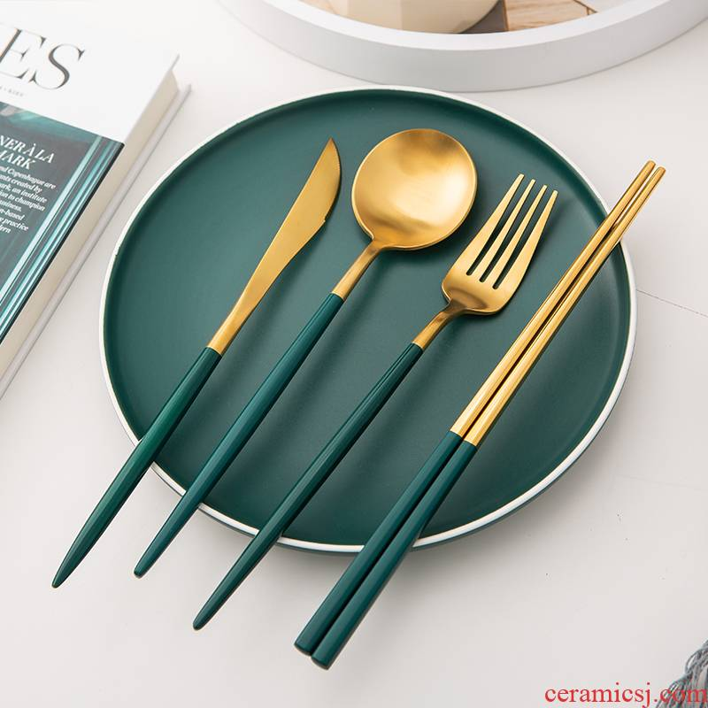 High - grade stainless steel knife and fork spoon, chopsticks four - piece western - style food tableware light much steak knife and fork spoon restaurant B,