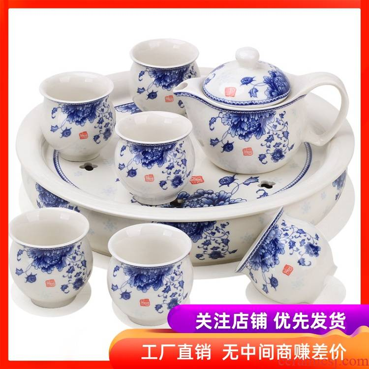 Jingdezhen ceramic tea tray was large storage consolidation set of household heat insulation double circular dry mercifully kung fu tea set