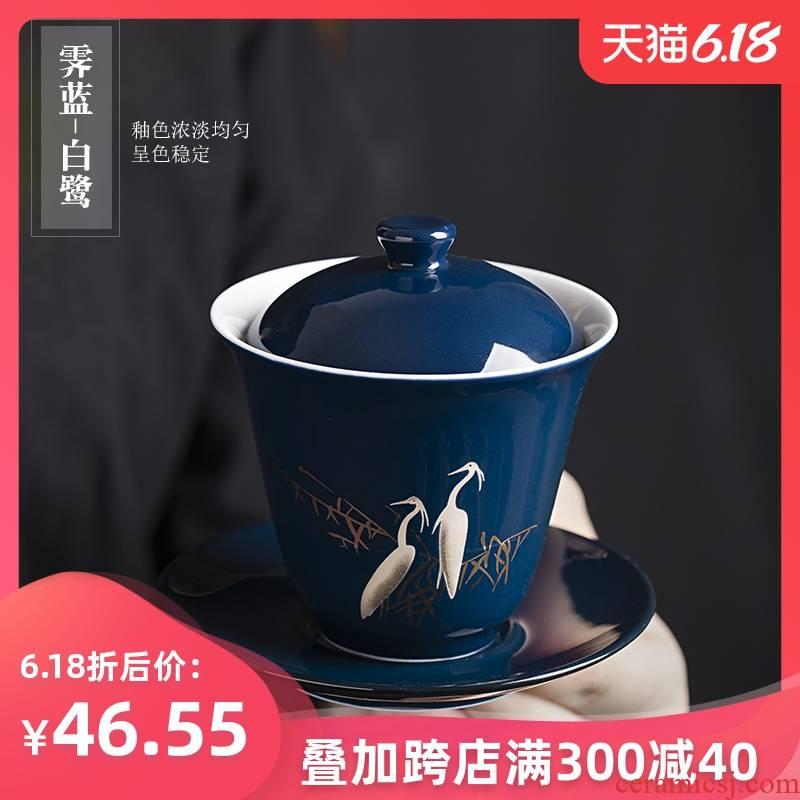 Egrets glaze ceramic tureen home only three bowl of kung fu tea tea machine manual to make tea cup cup size