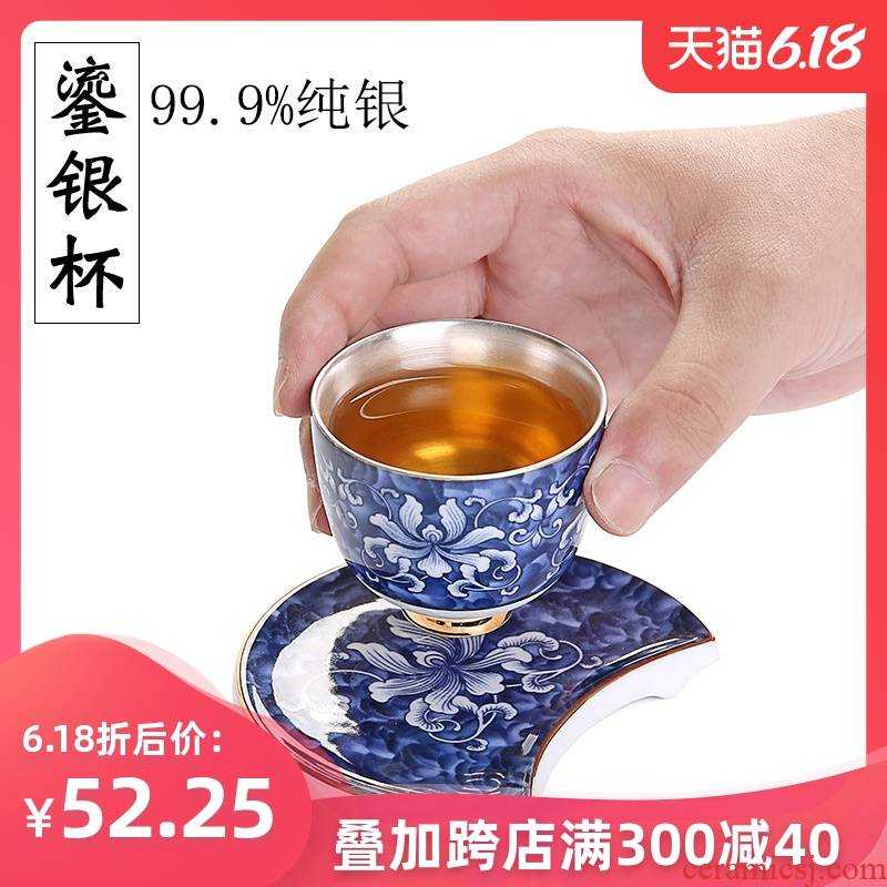 The Master cup single cup 999 sterling silver cup tea blue - and - white porcelain sample tea cup, kung fu tea bowl coppering. As silver cup