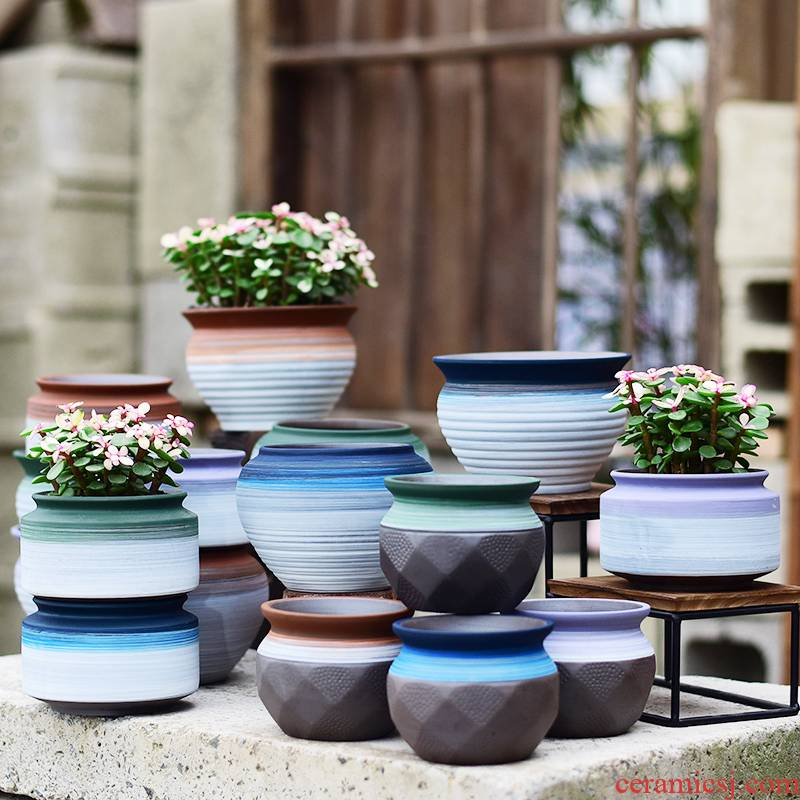 Simple move flower pot in ceramic new desktop combine coarse pottery breathable household violet arenaceous green plant pot much meat basin