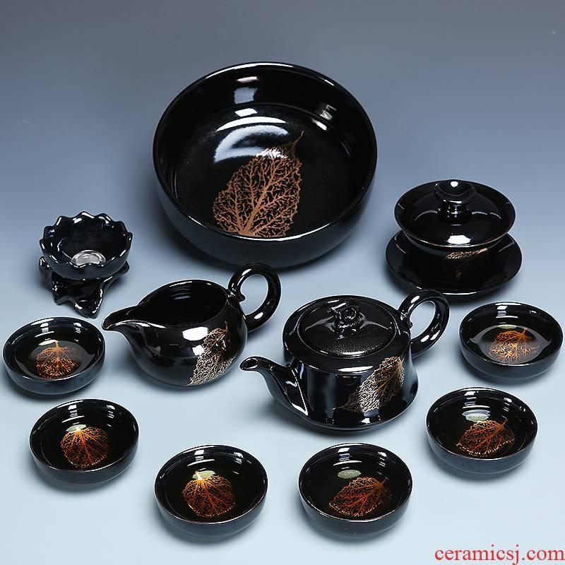 Gold konoha built lamps of a whole set of kung fu tea set home tea temmoku glaze ceramic cups lid to use by hand