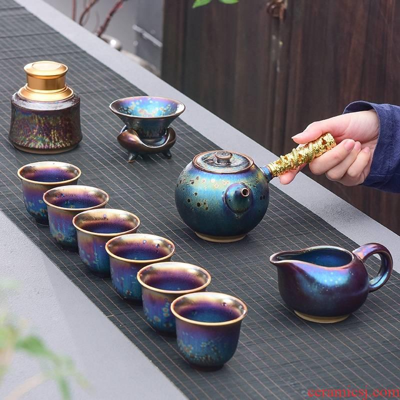 Hk xin rui building light tea set 7 see colour red glaze, glaze up kung fu tea sets ceramic tea set by the peacock