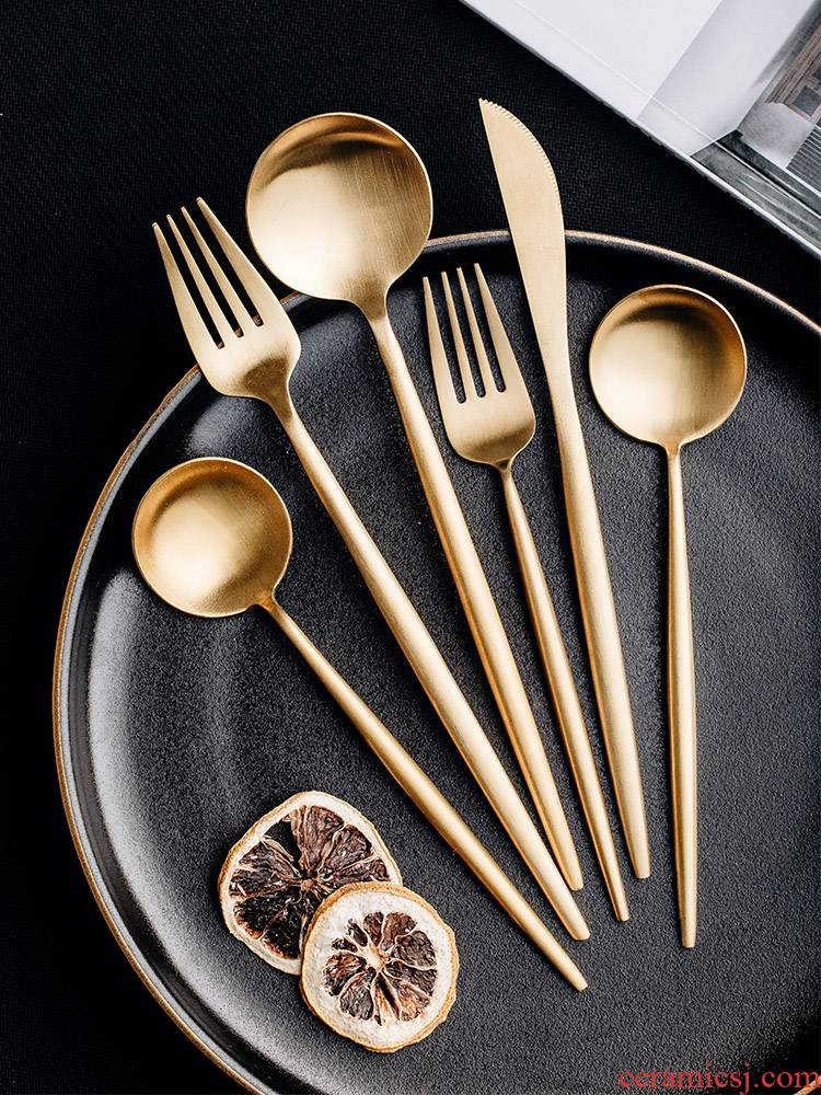 Web celebrity ins cutlery set 304 stainless steel tableware, informs western - style food Web celebrity steak knife and fork spoon, three - piece suit