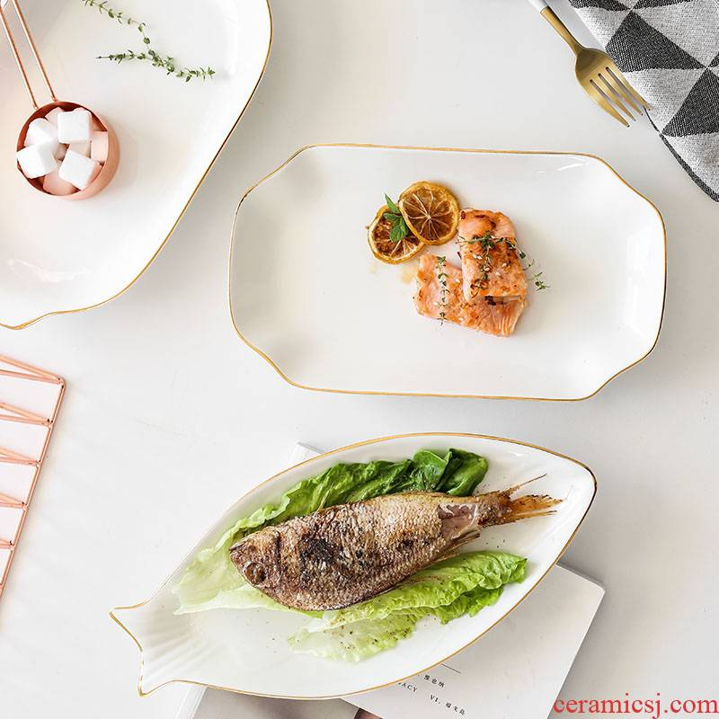 Jin Bianyu disc ceramic fish dishes steamed fish ears plate creative Nordic network red tableware household size bigger sizes