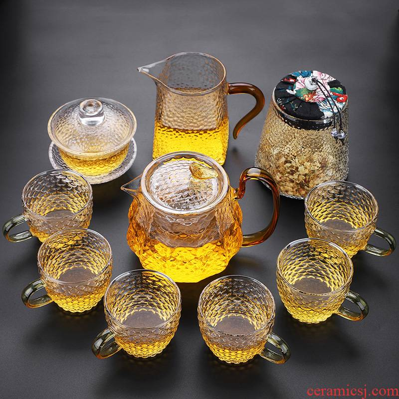 Kung fu high temperature resistant glass tea set suit I and contracted household office Japanese mercifully tea tea teapot
