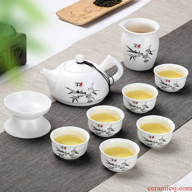 The flute ceramic kung fu tea set household teapot contracted and I tea cups dehua white porcelain small set of ideas