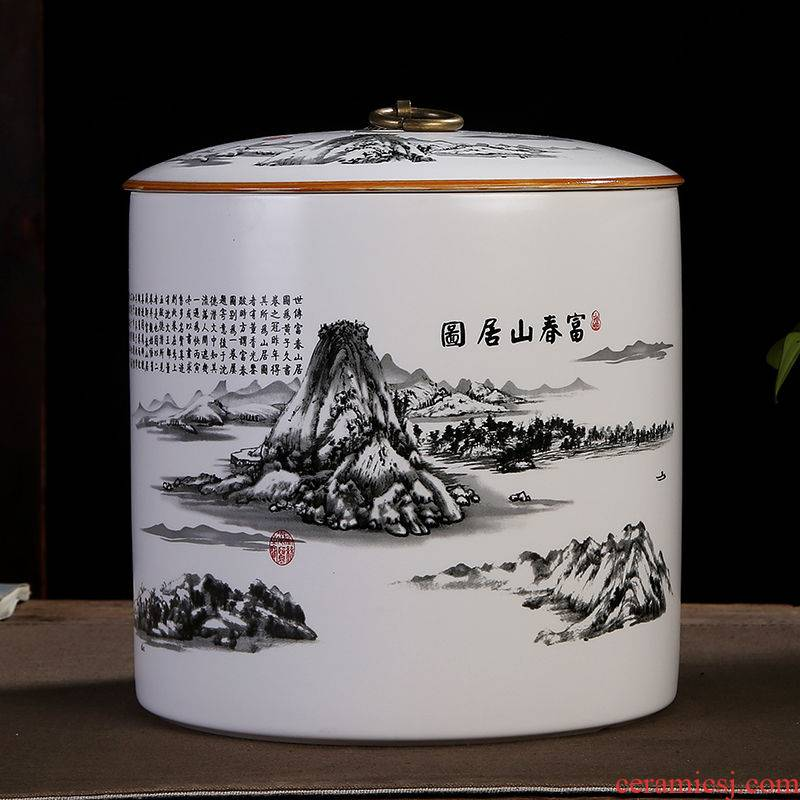 White porcelain large one jin pu 'er tea box sealed storage tank ceramic small purple sand tea box of red and green tea