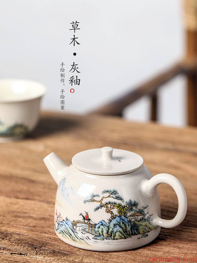 Jingdezhen plant ash glaze high - end ceramic teapot hand - made scenery pure manual single pot of household small tea tea kettle