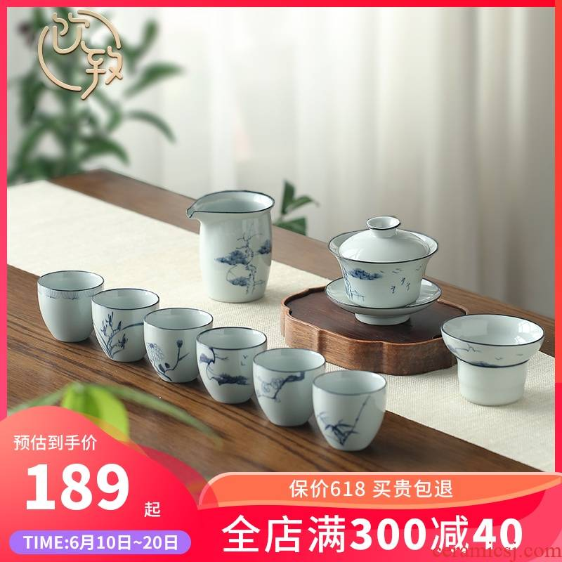 Ultimately responds to clay jingdezhen hand - made kung fu tea set tea set of small household ceramics tureen tea cups