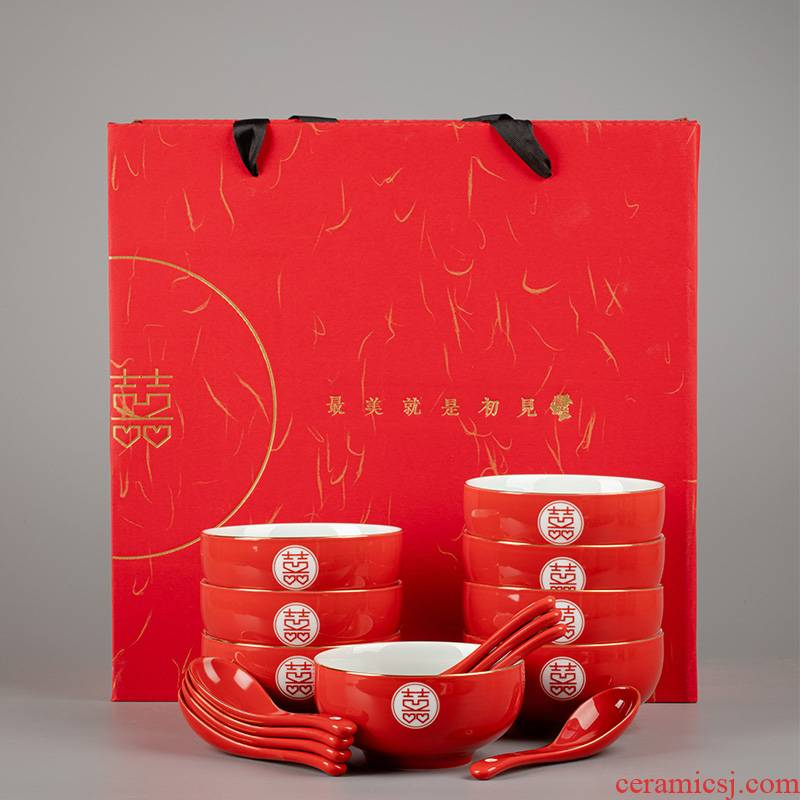I swim I with ceramic bowl chopsticks double happiness big red bowl suit wedding with the new one the bowl chopsticks suits for